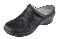 Alegria Isabelle Black Embroidery slip resistant mule shoe for women