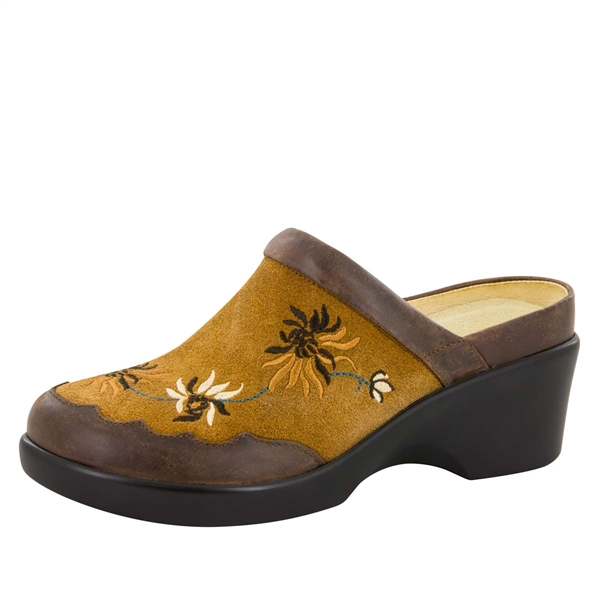 Alegria Isabelle Embroidery Tan womens leather wedge mule shoes