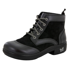 Alegria Izzy Black waterproof lace-up boot
