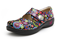 Alegria Kaitlyn Black Pinwheel leather stain resistant professional nursing shoes