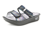 Alegria Karmen Blue Rainbow womens slide on sandal on sale