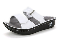 Alegria Karmen White womens leather comfort slide on sandal