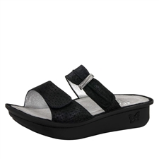 Alegria Karmen Black Wavy comfort sandals for women