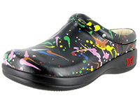 Alegria Kayla Black Splash womens open back clog on sale