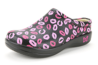 Alegria Kayla Black Multi Lips slip on clogs for women