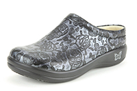 Alegria Kayla Pewter Skulls womens leather slip resistant clogs