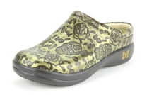Alegria Kayla Gold Skulls womens leather comfort open back clogs