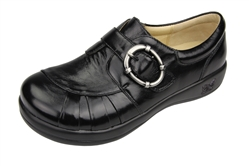 Alegria Khloe Black Waxy comforatable leather oxfords for women