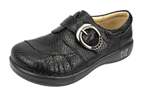 Alegria Khloe Black Burnish Snake womens buckle comfort shoe