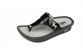 Alegria Kids Carina Black Patent leather comfort sandal for girls