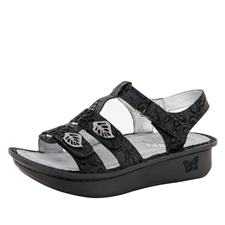 Alegria Kleo Black Leaf comfort sandals for women