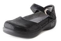 Alegria Kyra Black Snake womens stain resistant professional shoes