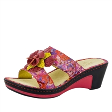 Alegria Lana Flora Fiesta leather comfort wedge sandal for women