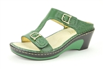 Alegria Lara Olive womens leather comfort wedge sandal