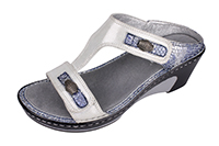 Alegria Lara White leather comfort wedge sandal for women