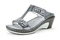 Alegria Lara Pewter Tumble leather comfort wedge sandal for women