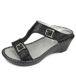 Alegria Lara Wild West Night leather comfort wedge sandal for women