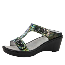 Alegria Lara Tectonic leather comfort wedge sandal for women