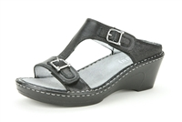 Alegria Lara Black Dressy womens leather dress wedge sandal