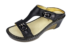 Alegria Lara Black Butter leather comfort wedge sandal for women
