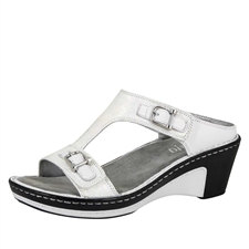 Alegria Lara Pearl Rose leather comfort wedge sandal for women