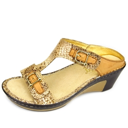 Alegria Lara Posh Gold leather comfort wedge sandal for women