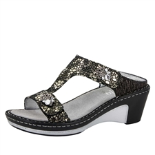 Alegria Lara Pewter Mosaic leather comfort wedge sandal for women