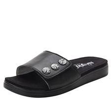 Alegria Lilia Black comfort wedge sandal for women on sale
