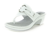 Alegria Lola White womens patent leather wedge thong sandal