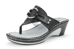 Alegria Lola Black womens patent leather wedge thong sandal