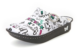 Alegria Kids Louise Seville Rock Star White girls leather clogs