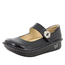 Alegria Paloma Black Embossed Rose mary jane shoes for women