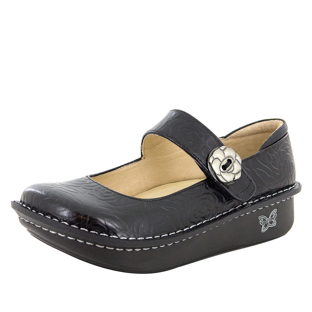 Alegria Paloma Black Embossed Rose Comfort Style Mary Janes