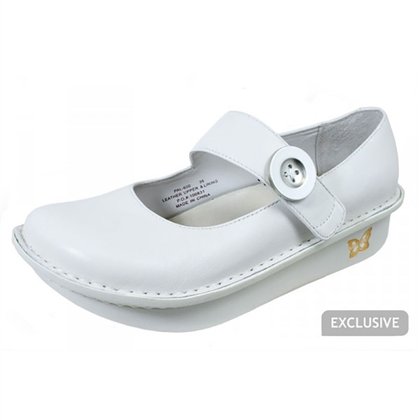 Alegria Paloma White Napa leather nursing comfort shoes for women