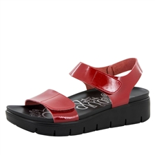 Alegria Playa Red Patent comfort sandals for women