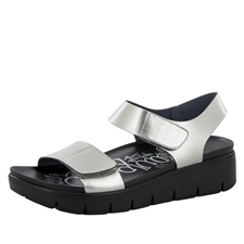 Alegria Playa Pewter Patent comfort sandals for women