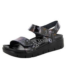Alegria Playa Peace & Love Black comfort sandals for women