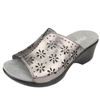 Alegria Sasha Uptown Pewter womens leather wedge mule shoes
