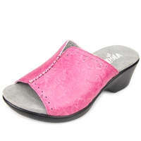 Alegria Sasha Dolly Fuchsia womens leather wedge mule shoes