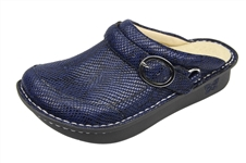 Alegria Seville Blue Snakey Jake comfort clog for women