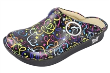 Alegria Seville Funfetti womens leather open back nursing clog