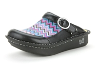 Alegria Seville Chevron leather slip resistant clog for women