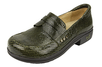 Alegria Taylor Pro Olive Glossy Snake womens career fashion loafer