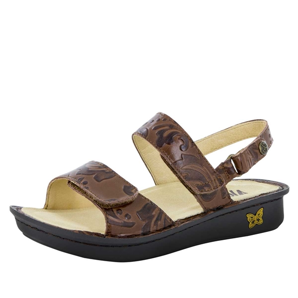 Alegria Verona Yeehaw Brown leather strap comfort sandals for women