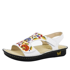 Alegria Viki White Needles & Pins women's comfort sandal