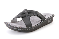 Alegria Violet Black Napa womens slide on sandals on sale