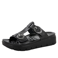Alegria Vita Black Nappa comfort sandals for women