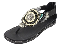 Alegria Zan Black womens leather beaded thong comfort sandal