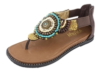 Alegria Zan Choco leather beaded thong comfort sandal for women