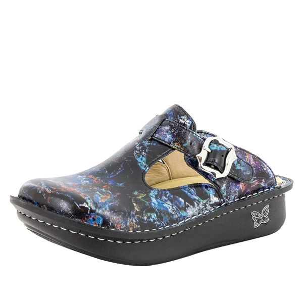 Alegria Classic Vortex multi-color womens open back clog with slip resistant bottoms